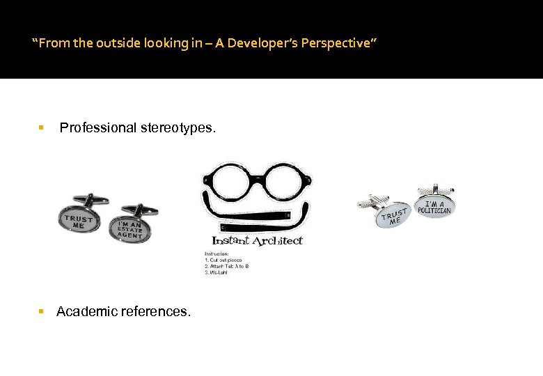 """From the outside looking in – A Developer's Perspective"" Professional stereotypes. Academic references."