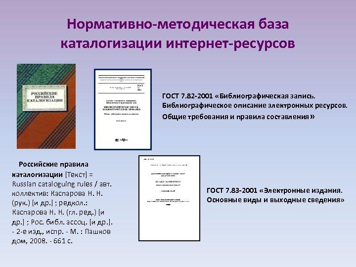 Нормативно-методическая база каталогизации интернет-ресурсов ГОСТ 7. 82 -2001 «Библиографическая запись. Библиографическое описание электронных ресурсов.