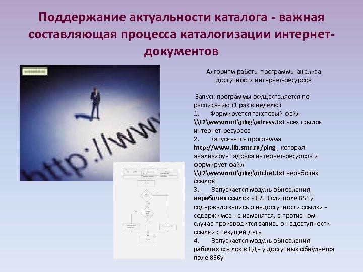 Поддержание актуальности каталога - важная составляющая процесса каталогизации интернетдокументов Алгоритм работы программы анализа доступности