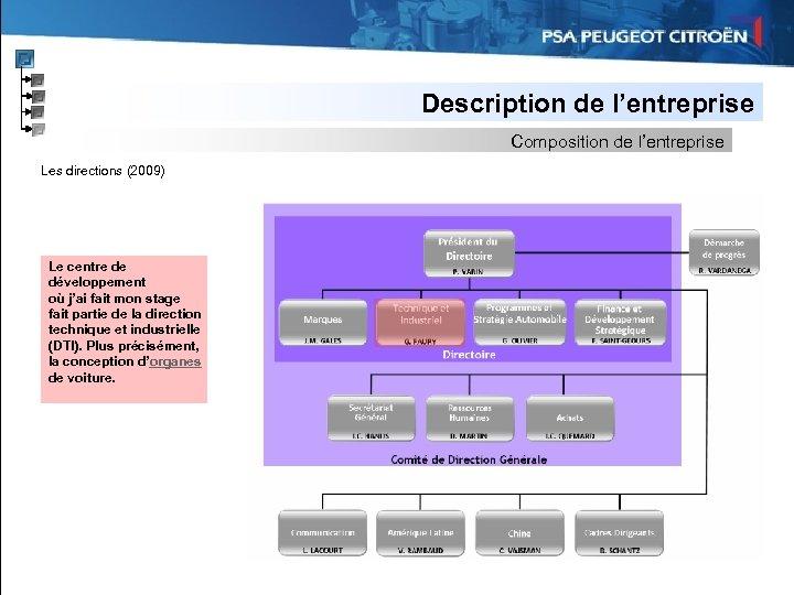 Description de l'entreprise Composition de l'entreprise Les directions (2009) Le centre de développement où