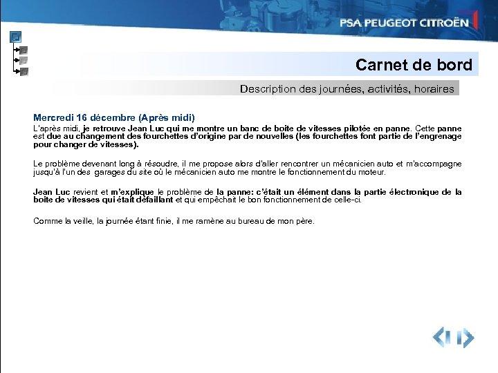 Carnet de bord Description des journées, activités, horaires Mercredi 16 décembre (Après midi) L'après