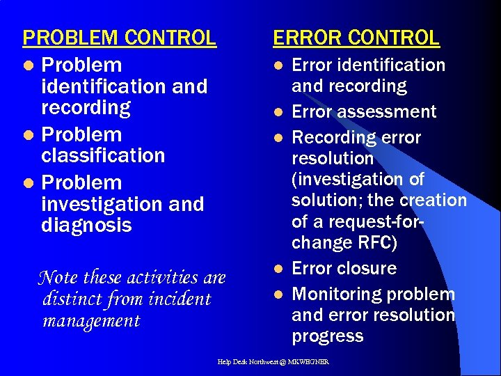 PROBLEM CONTROL l Problem identification and recording l Problem classification l Problem investigation and