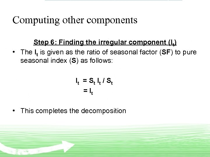 Computing other components Step 6: Finding the irregular component (It) • The It is