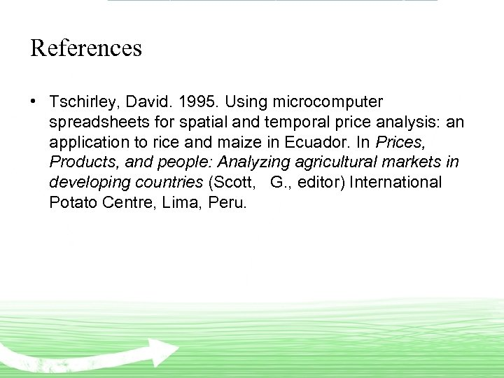 References • Tschirley, David. 1995. Using microcomputer spreadsheets for spatial and temporal price analysis: