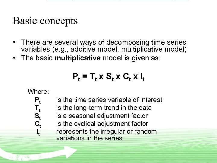 Basic concepts • There are several ways of decomposing time series variables (e. g.
