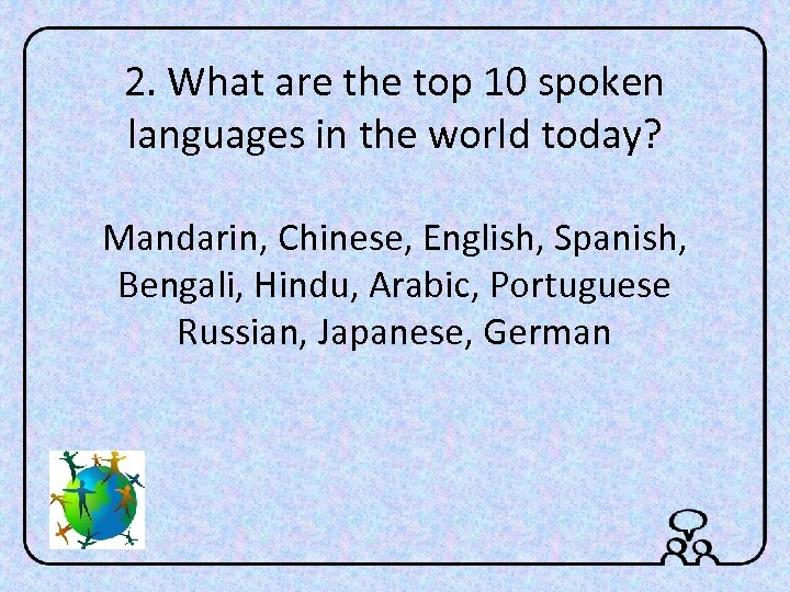 2. What are the top 10 spoken languages in the world today? Mandarin, Chinese,