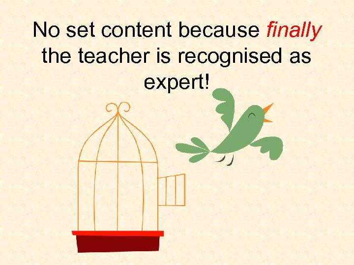 No set content because finally the teacher is recognised as expert!