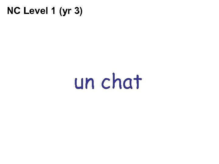 NC Level 1 (yr 3) un chat