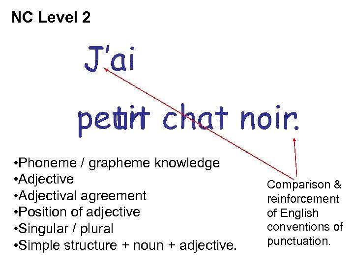 NC Level 2 J'ai petit chat noir. un • Phoneme / grapheme knowledge •