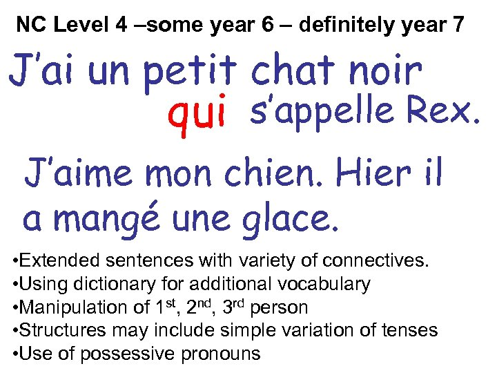 NC Level 4 –some year 6 – definitely year 7 J'ai un petit chat