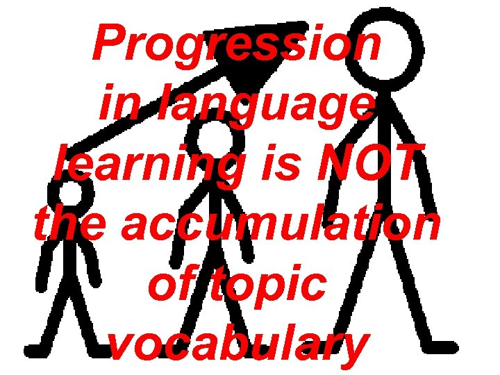 Progression in language learning is NOT the accumulation of topic vocabulary
