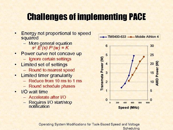 Challenges of implementing PACE • Energy not proportional to speed squared – More general