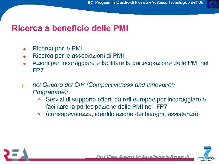 Il 7° Programma Quadro di Ricerca e Sviluppo Tecnologico dell'UE Ricerca a beneficio delle