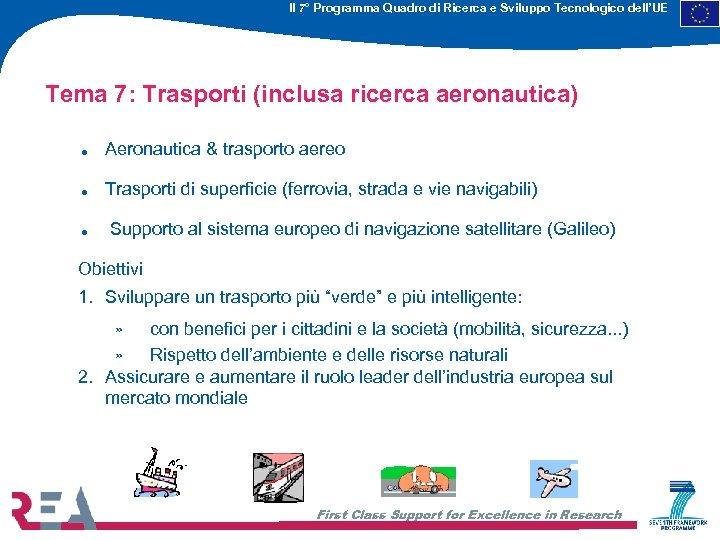 Il 7° Programma Quadro di Ricerca e Sviluppo Tecnologico dell'UE Tema 7: Trasporti (inclusa