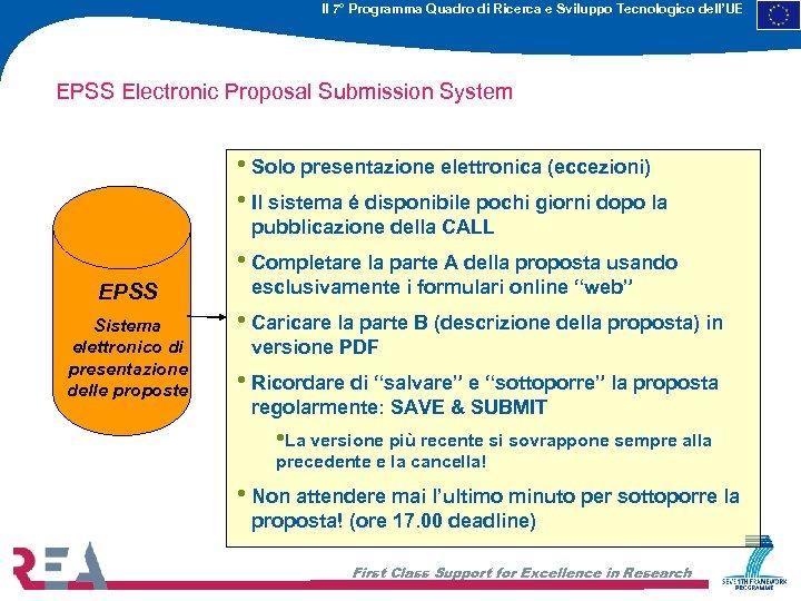 Il 7° Programma Quadro di Ricerca e Sviluppo Tecnologico dell'UE EPSS Electronic Proposal Submission