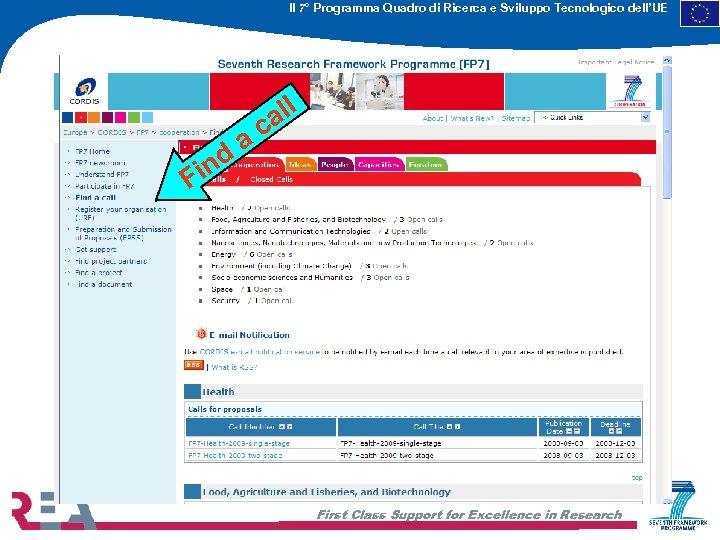 Il 7° Programma Quadro di Ricerca e Sviluppo Tecnologico dell'UE F nd i ll