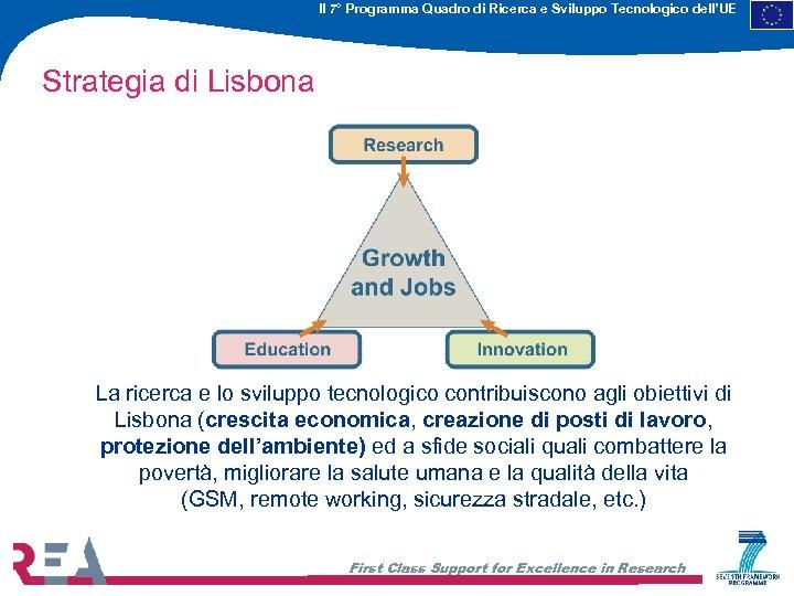 Il 7° Programma Quadro di Ricerca e Sviluppo Tecnologico dell'UE Strategia di Lisbona La