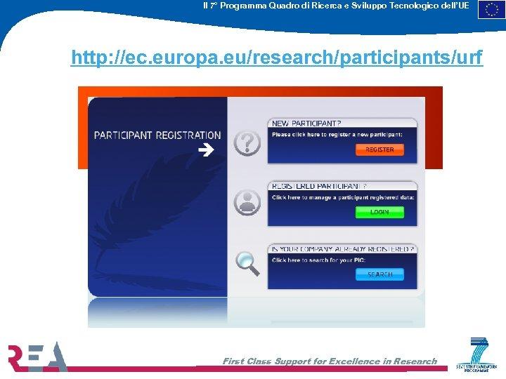 Il 7° Programma Quadro di Ricerca e Sviluppo Tecnologico dell'UE http: //ec. europa. eu/research/participants/urf