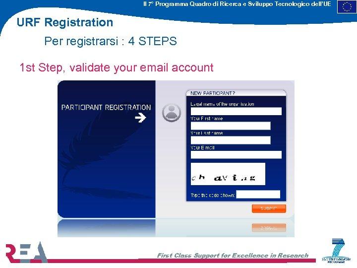 Il 7° Programma Quadro di Ricerca e Sviluppo Tecnologico dell'UE URF Registration Per registrarsi