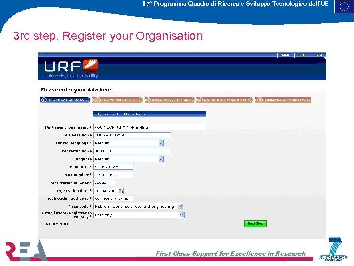Il 7° Programma Quadro di Ricerca e Sviluppo Tecnologico dell'UE 3 rd step, Register