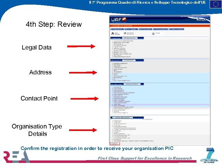 Il 7° Programma Quadro di Ricerca e Sviluppo Tecnologico dell'UE 4 th Step: Review