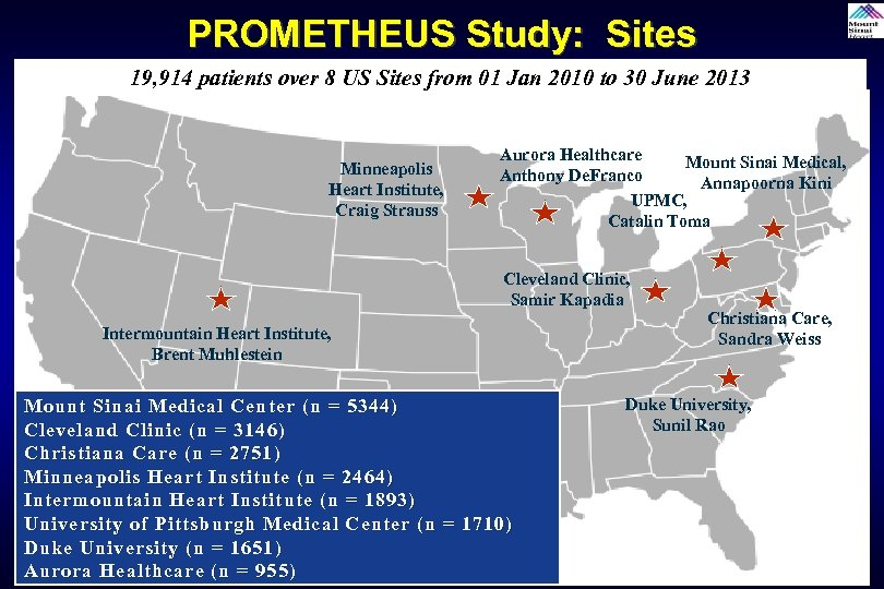 PROMETHEUS Study: Sites 19, 914 patients over 8 US Sites from 01 Jan 2010
