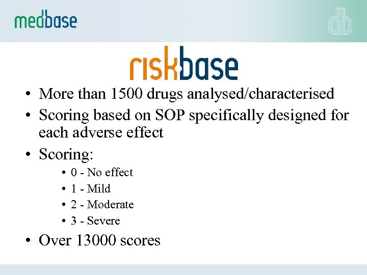• More than 1500 drugs analysed/characterised • Scoring based on SOP specifically designed