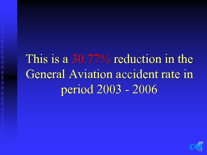 This is a 30. 77% reduction in the General Aviation accident rate in period