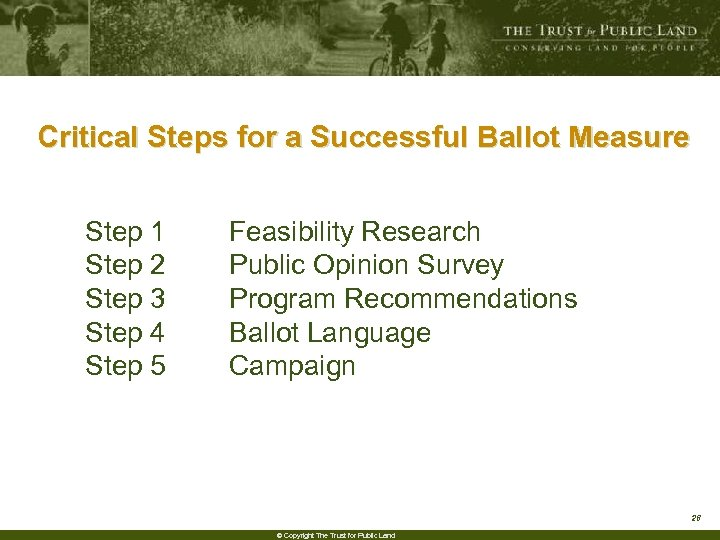 Critical Steps for a Successful Ballot Measure Step 1 Step 2 Step 3 Step