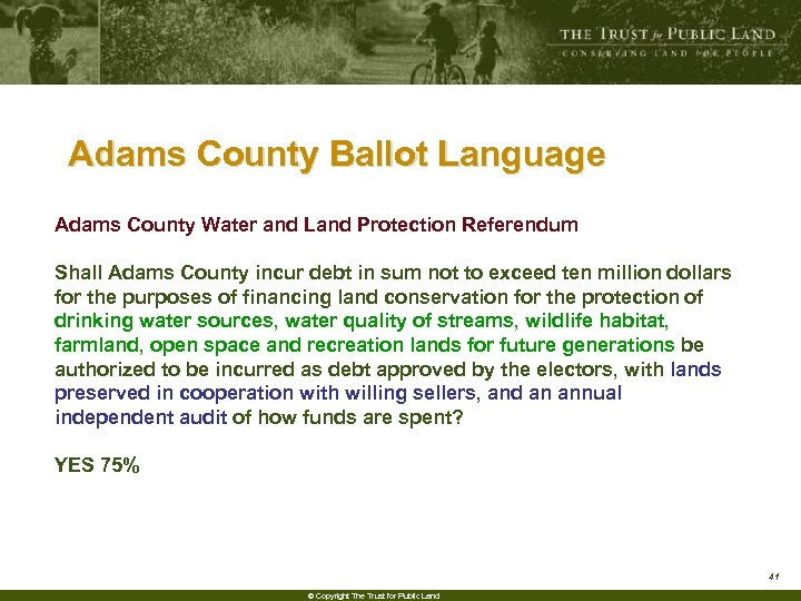 Adams County Ballot Language Adams County Water and Land Protection Referendum Shall Adams County