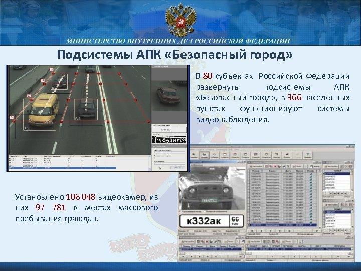 Подсистемы АПК «Безопасный город» В 80 субъектах Российской Федерации развернуты подсистемы АПК «Безопасный город»