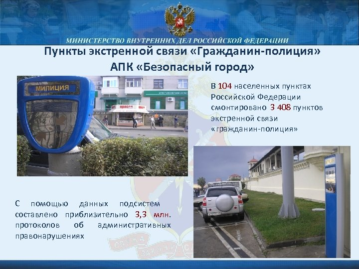 Пункты экстренной связи «Гражданин-полиция» АПК «Безопасный город» В 104 населенных пунктах Российской Федерации смонтировано