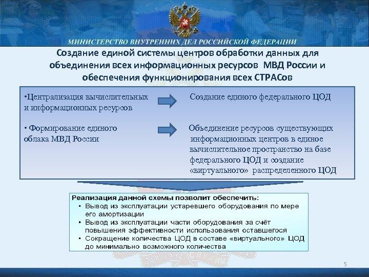 Создание единой системы центров обработки данных для объединения всех информационных ресурсов МВД России и