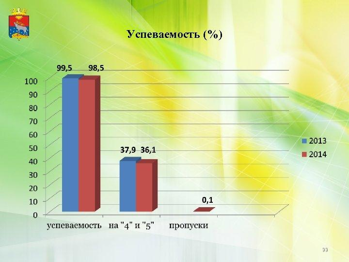 Успеваемость (%) 33