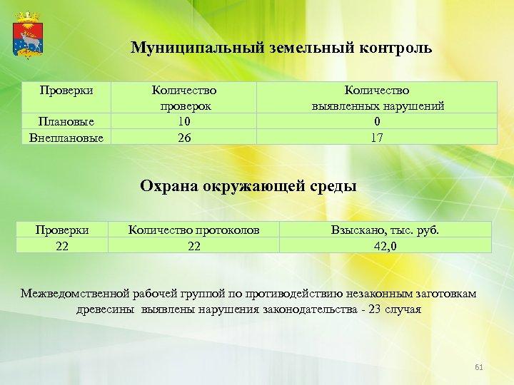 Муниципальный земельный контроль Проверки Плановые Внеплановые Количество проверок 10 26 Количество выявленных нарушений 0