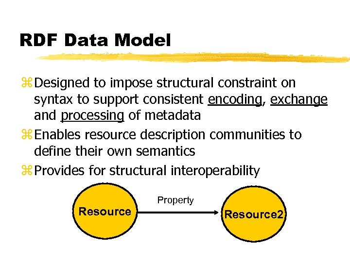 RDF Data Model z Designed to impose structural constraint on syntax to support consistent