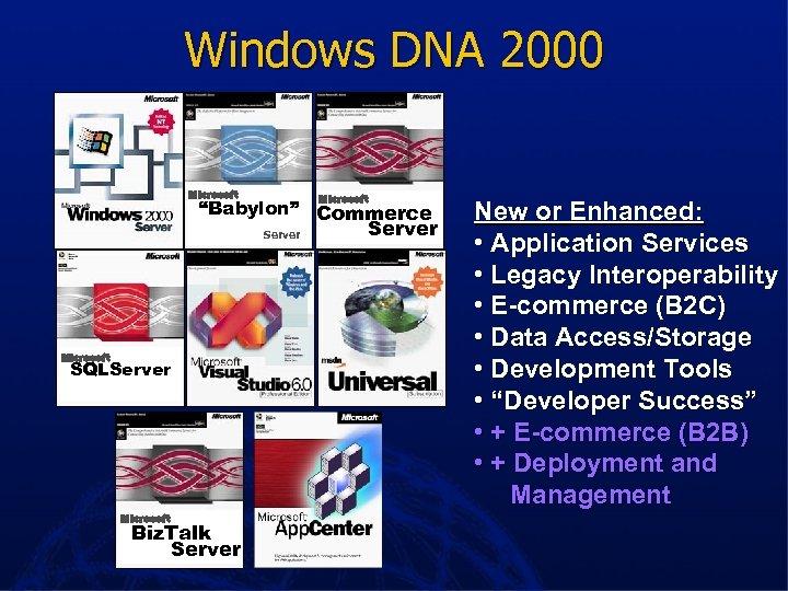 """Windows DNA 2000 Microsoft """"Babylon"""" Commerce Server Microsoft SQLServer Microsoft Biz. Talk Server New"""