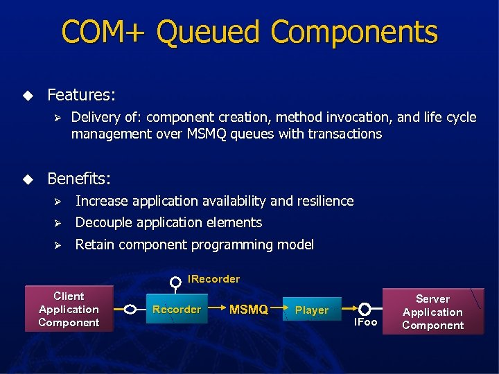 COM+ Queued Components u Features: Ø u Delivery of: component creation, method invocation, and
