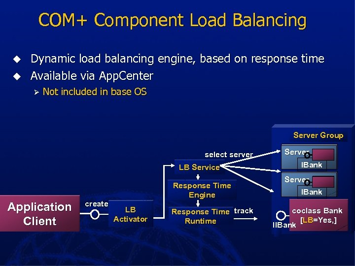 COM+ Component Load Balancing u u Dynamic load balancing engine, based on response time