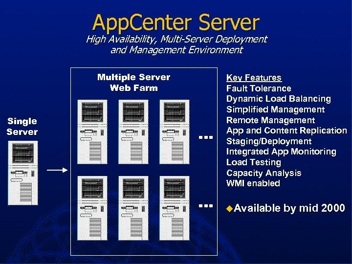 App. Center Server High Availability, Multi-Server Deployment and Management Environment Multiple Server Web Farm