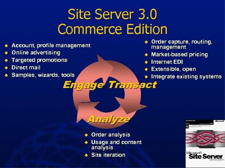Site Server 3. 0 Commerce Edition u u u Account, profile management Online advertising