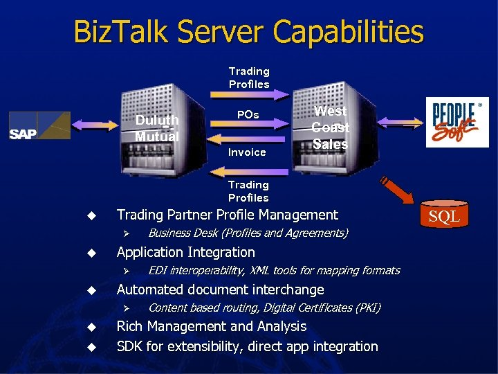 Biz. Talk Server Capabilities Trading Profiles Duluth Mutual POs Invoice West Coast Sales Trading