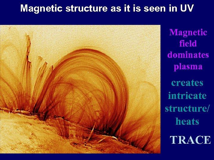 Magnetic structure as it is seen in UV Magnetic field dominates plasma creates intricate