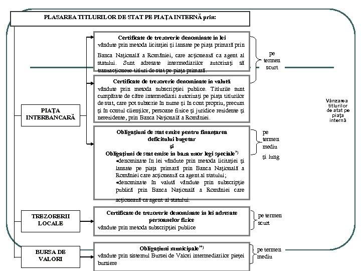 PLASAREA TITLURILOR DE STAT PE PIAŢA INTERNĂ prin: Certificate de trezorerie denominate în lei