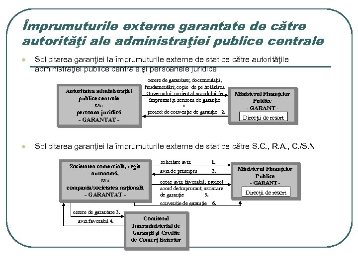 Împrumuturile externe garantate de către autorităţi ale administraţiei publice centrale l Solicitarea garanţiei la