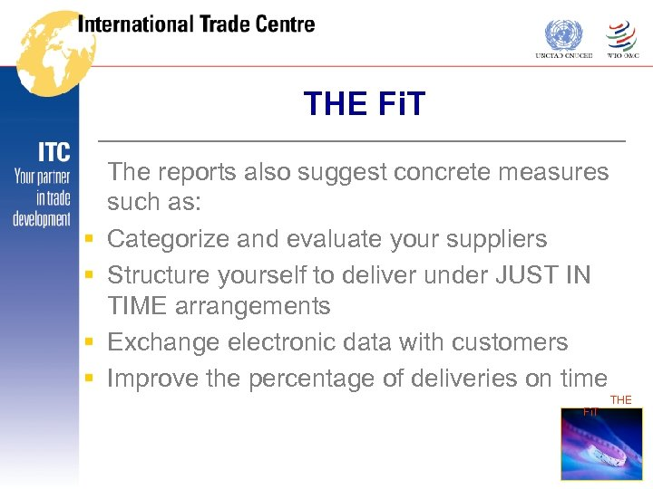 THE Fi. T § § The reports also suggest concrete measures such as: Categorize