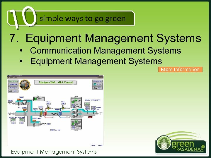 10 7. Equipment Management Systems simple ways to go green • Communication Management Systems