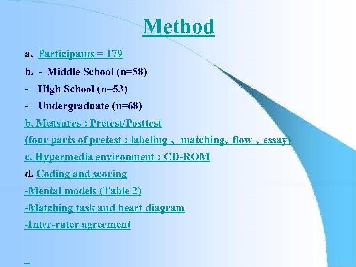 Method a. Participants = 179 b. - Middle School (n=58) - High School (n=53)