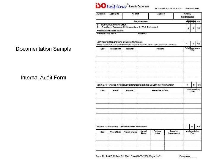 Documentation Sample Internal Audit Form