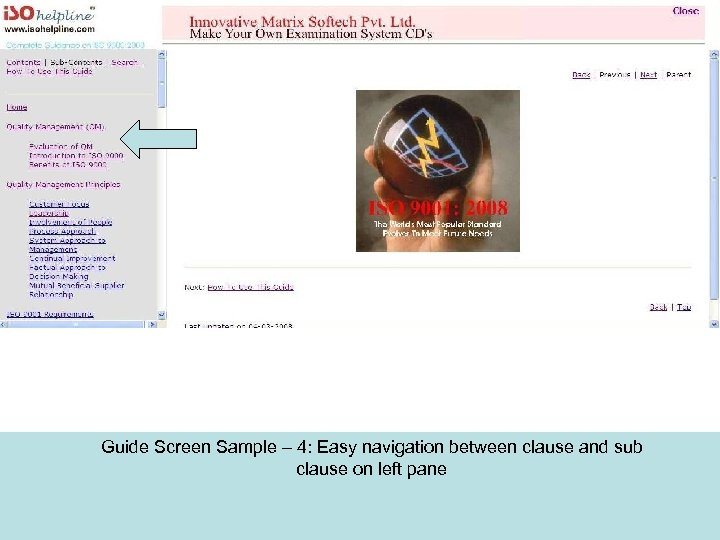 Guide Screen Sample – 4: Easy navigation between clause and sub clause on left